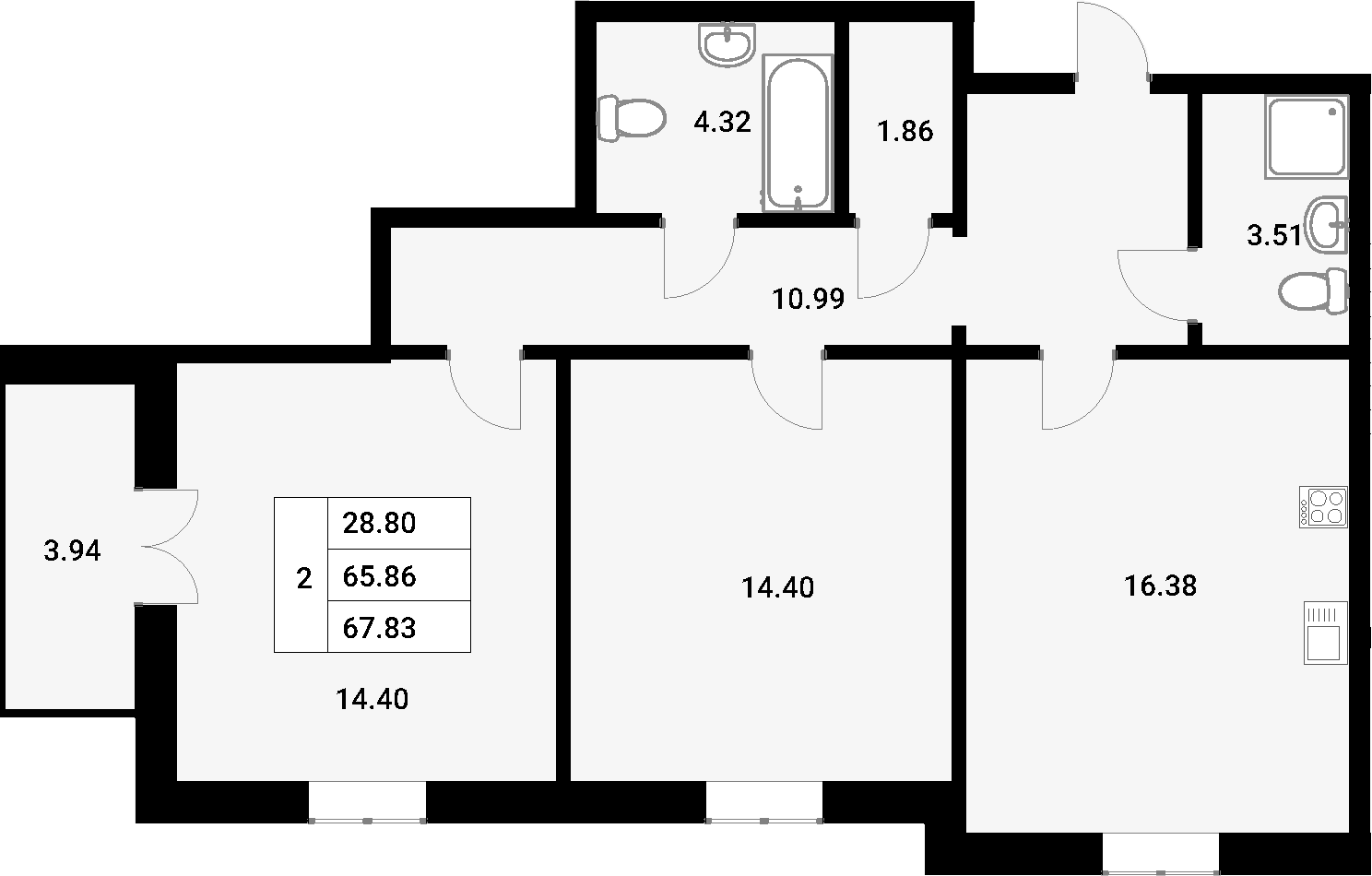 3Е-к.кв, 67.83 м²