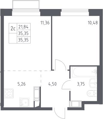 2Е-к.кв, 35.35 м², 17 этаж