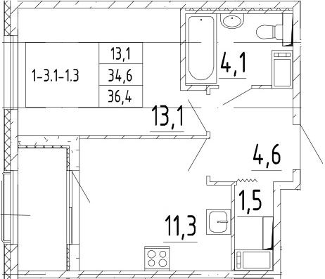 1-к.кв, 36.4 м², 5 этаж