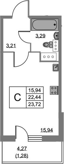 Студия, 23.72 м²