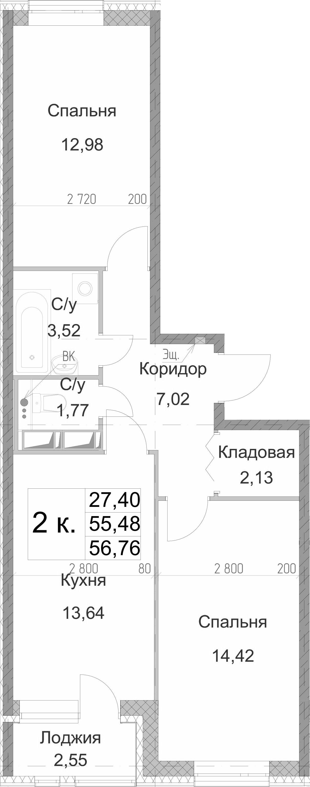 2-к.кв, 56.76 м²