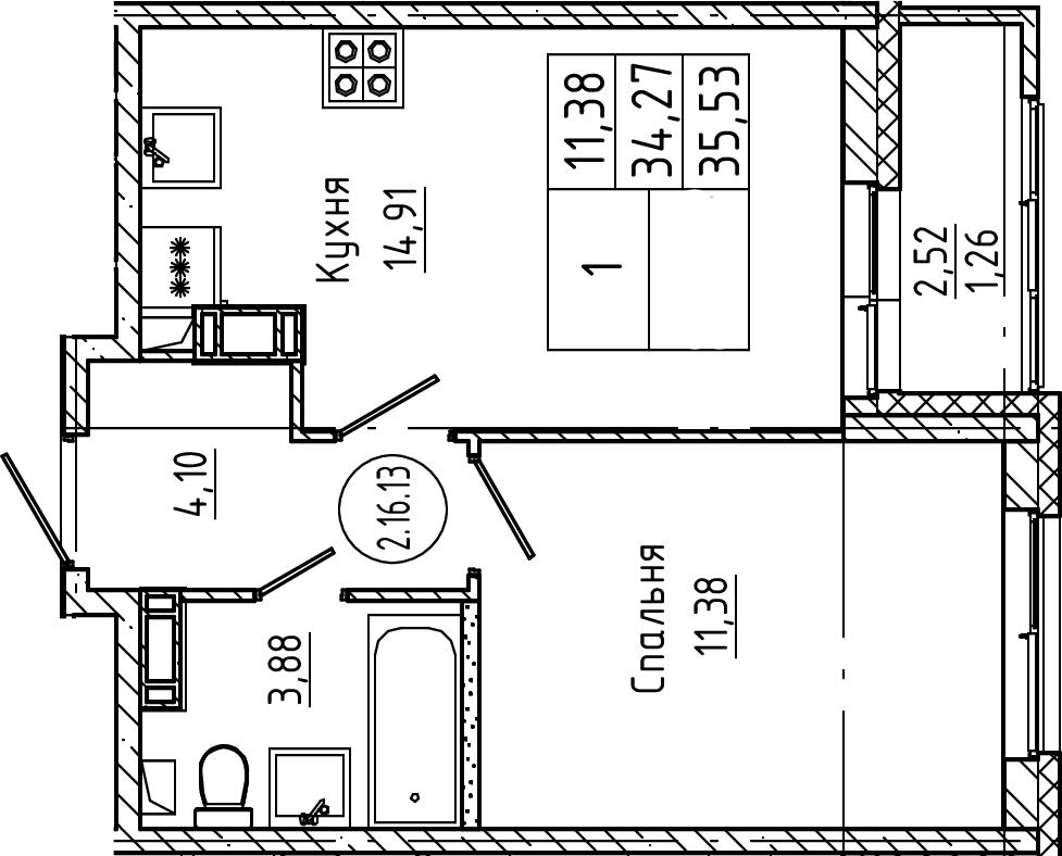 1-к.кв, 35.53 м², от 3 этажа