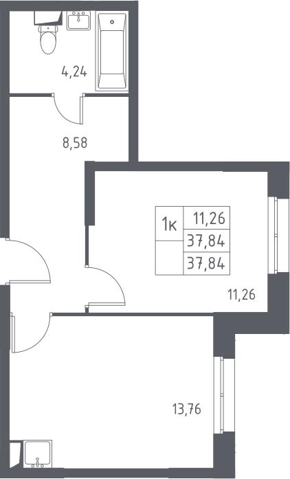 1-к.кв, 37.84 м²