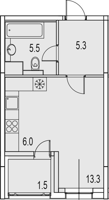 Студия, 33.1 м²