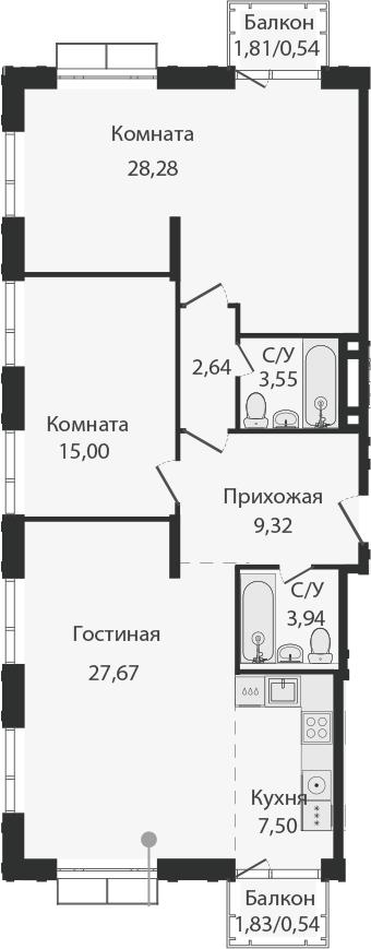 3Е-комнатная, 99.06 м²– 2