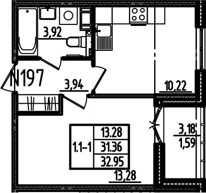 1-комнатная, 32.95 м²– 2