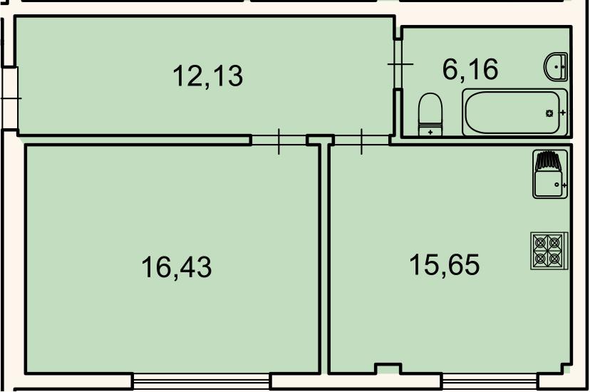 1-к.кв, 50.4 м², 1 этаж