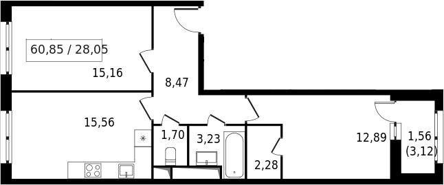 3-к.кв (евро), 62.41 м²