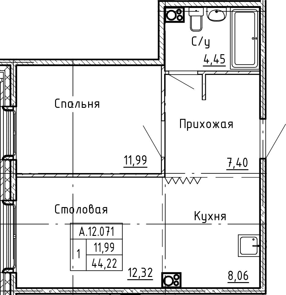 2Е-комнатная, 44.22 м²– 2