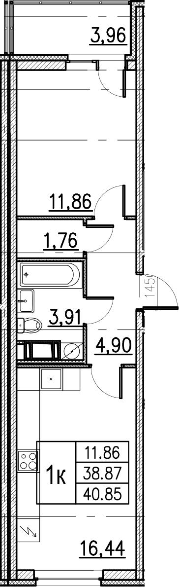 2Е-комнатная, 40.85 м²– 2