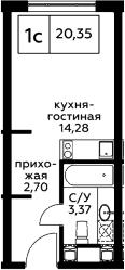 Студия, 20.35 м², 21 этаж – Планировка