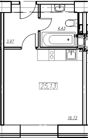 Студия, 25.13 м²– 2