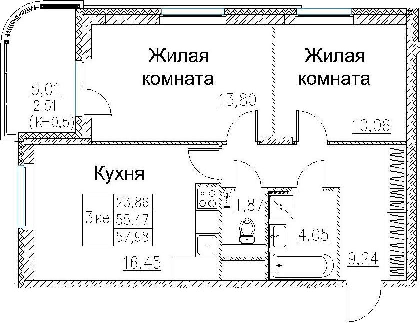 3-к.кв (евро), 60.49 м²