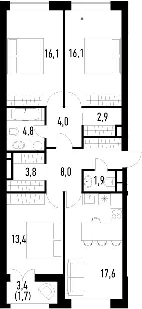 4-к.кв (евро), 92 м²