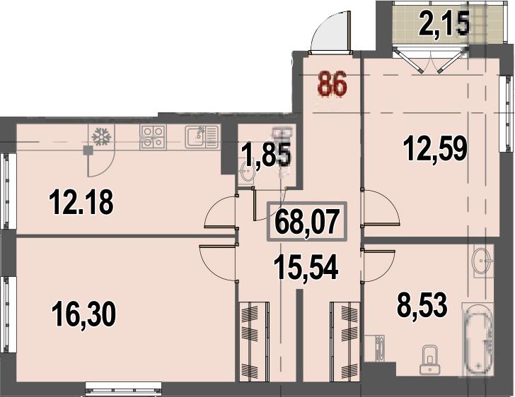2-комнатная, 68.07 м²– 2
