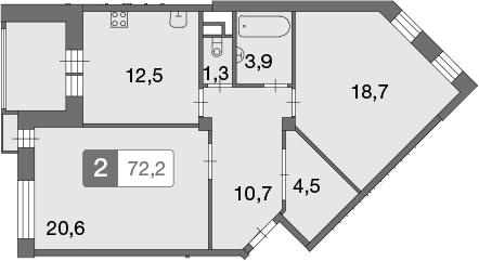 2-к.кв, 72.2 м²