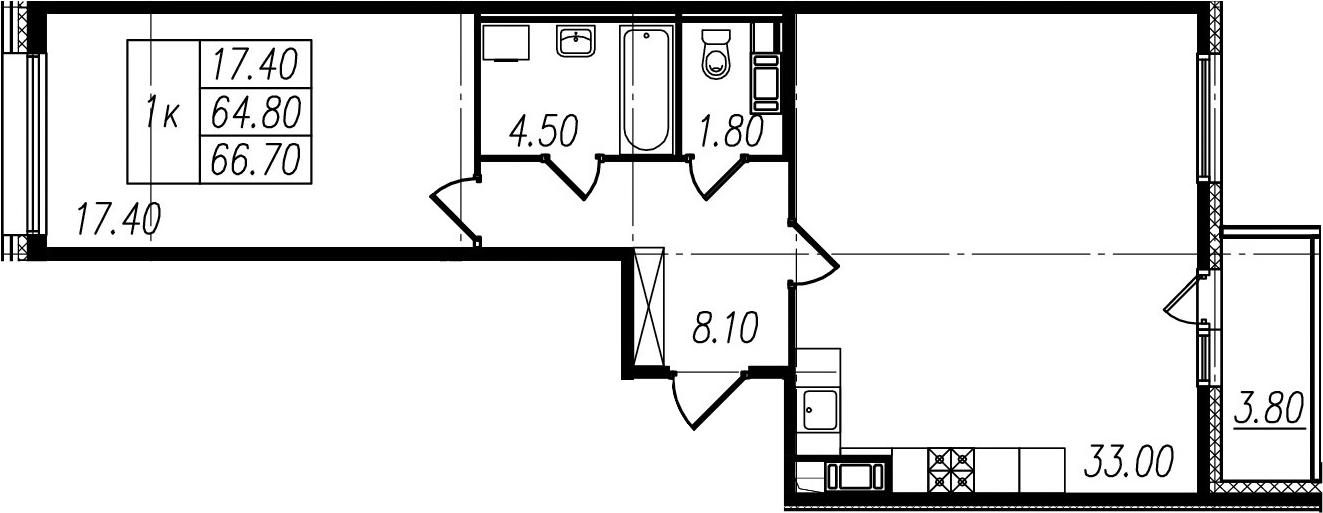 1-к.кв, 64.8 м²