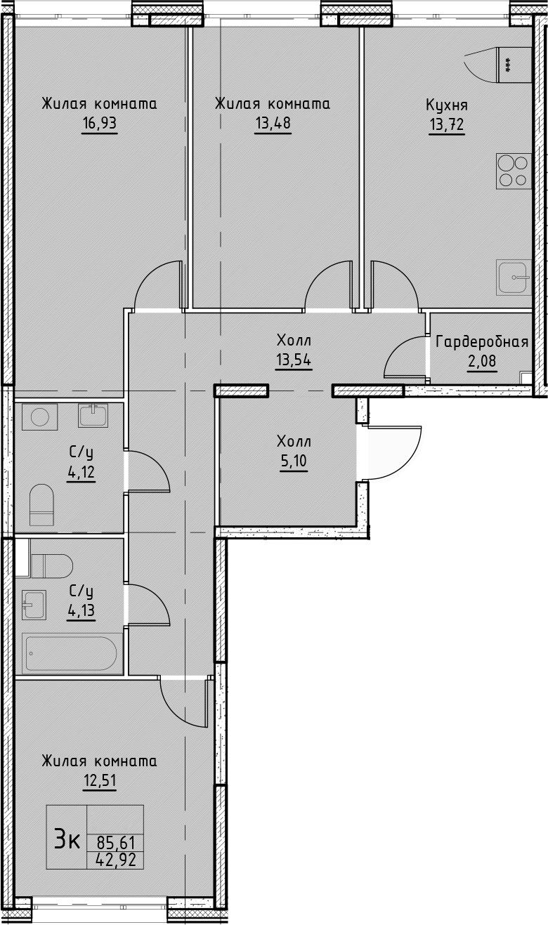 3-к.кв, 85.61 м²
