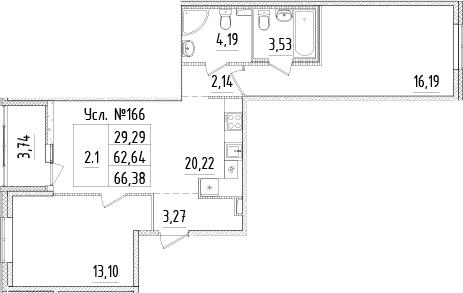 3-к.кв (евро), 66.38 м²