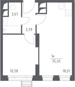 2Е-к.кв, 35.65 м², 8 этаж