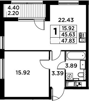2Е-комнатная, 47.83 м²– 2