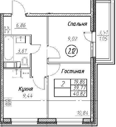 2-к.кв, 40.82 м²