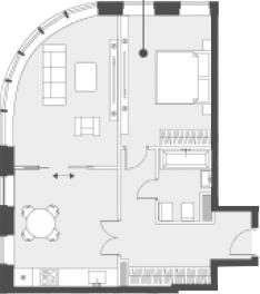 Свободная планировка, 57 м²– 2