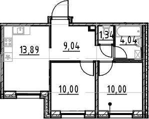 3-к.кв (евро), 48.31 м²