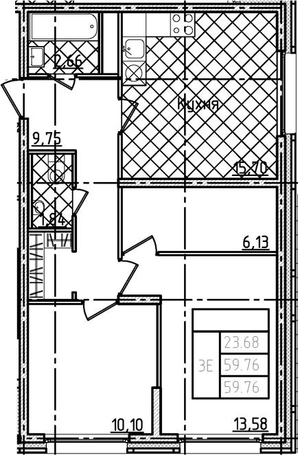 3Е-комнатная, 59.76 м²– 2
