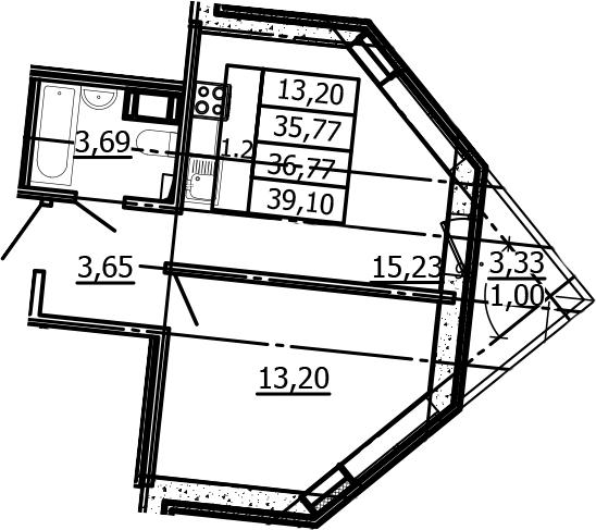 2Е-к.кв, 35.77 м², 3 этаж