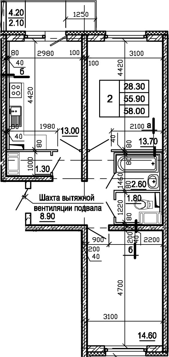2-комнатная, 58 м²– 2