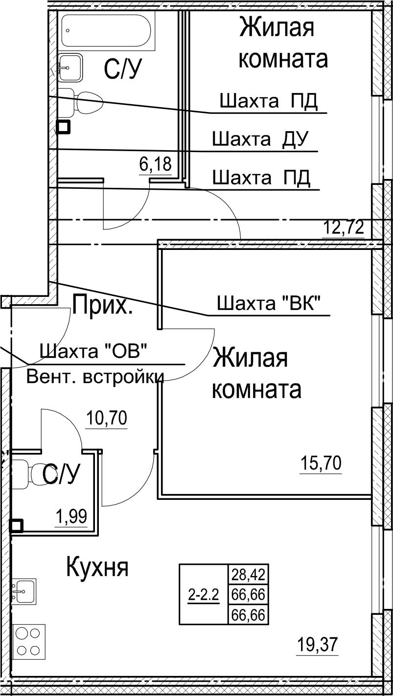 3Е-к.кв, 66.66 м²