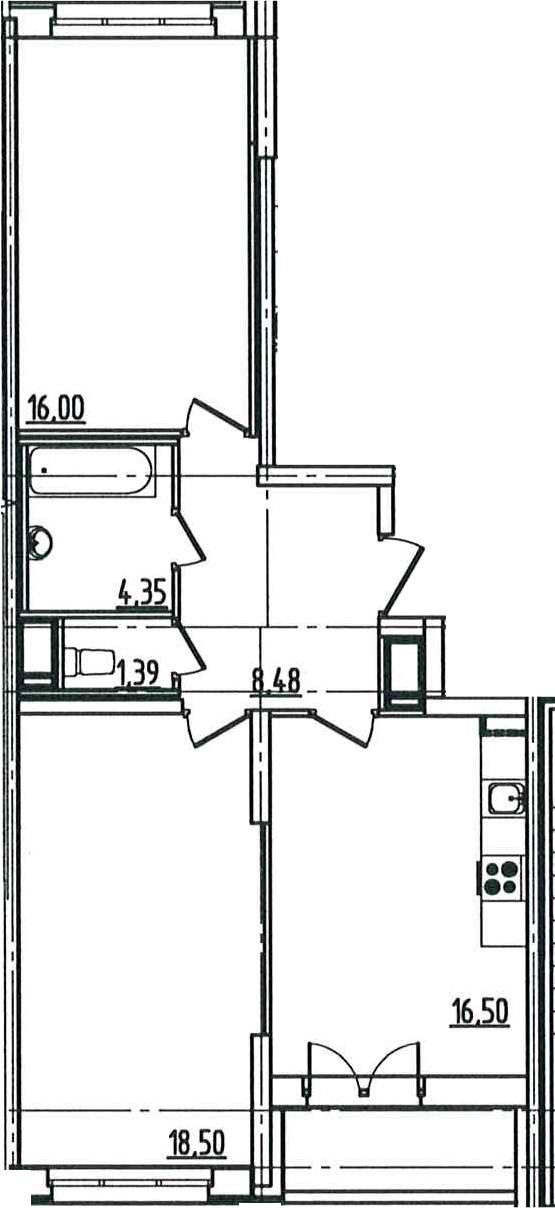 3Е-комнатная, 66.93 м²– 2