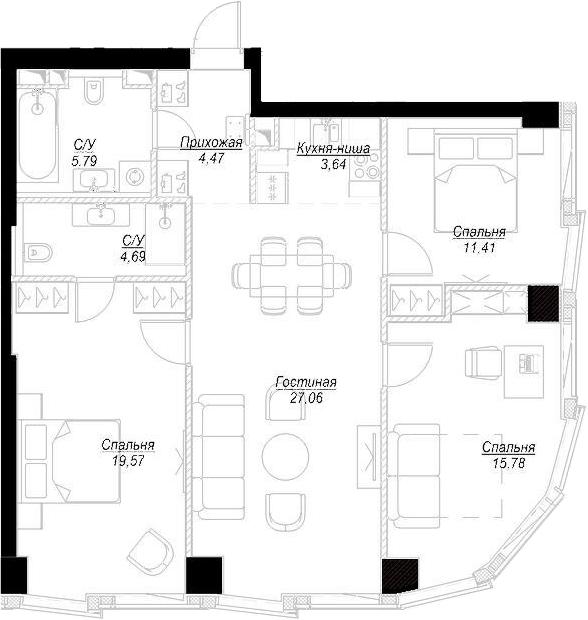 4Е-комнатная, 92.43 м²– 2