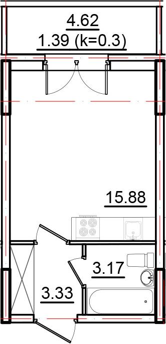 Студия, 23.77 м², 2 этаж