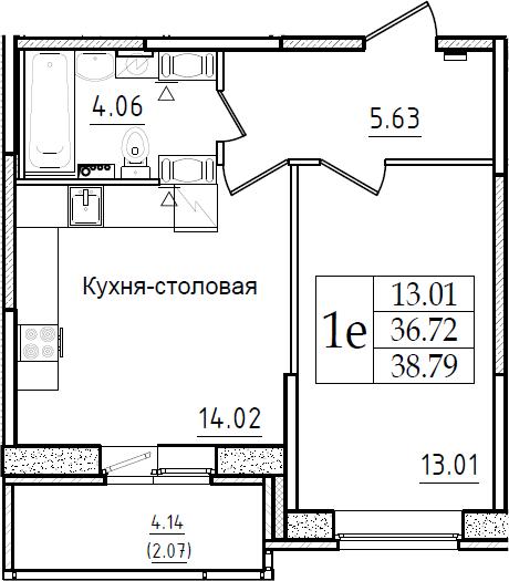 2Е-комнатная, 38.79 м²– 2