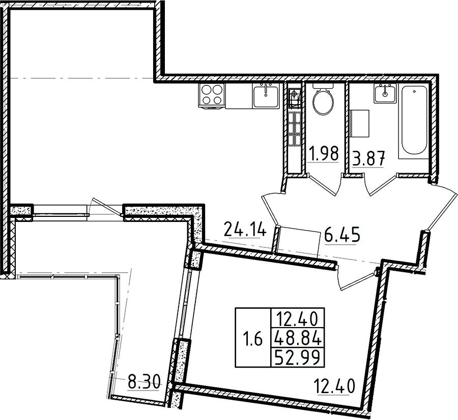 2Е-комнатная, 48.84 м²– 2