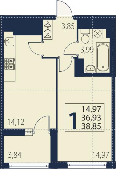 2Е-к.кв, 36.93 м², от 18 этажа