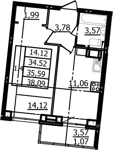 1-к.кв, 34.52 м²