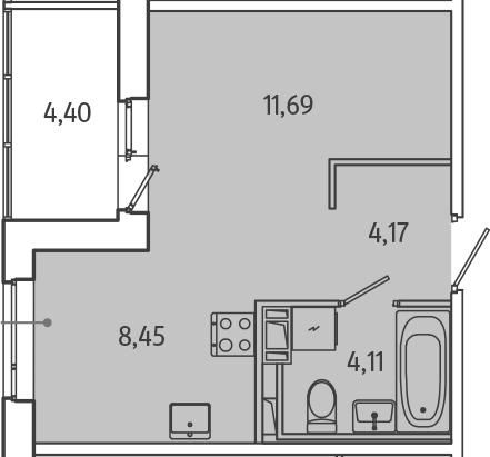 Студия, 30.62 м², 2 этаж