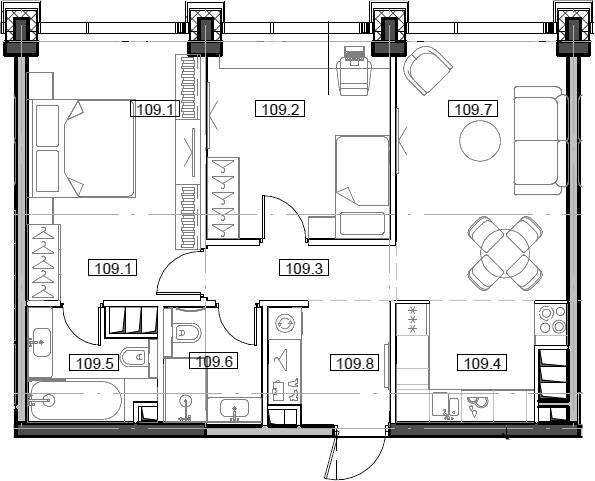 3Е-комнатная, 64.81 м²– 2