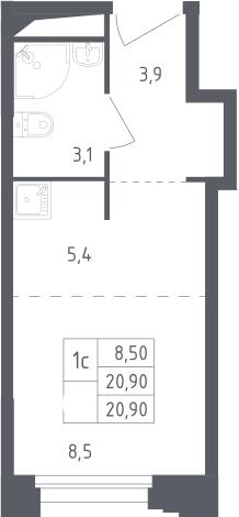 Студия, 17.8 м²– 2