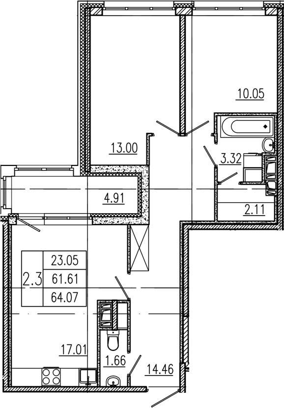 3Е-комнатная, 61.61 м²– 2