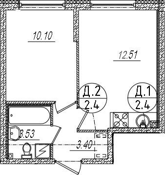 2-к.кв (евро), 29.54 м²