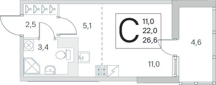 Студия, 22 м², 2 этаж