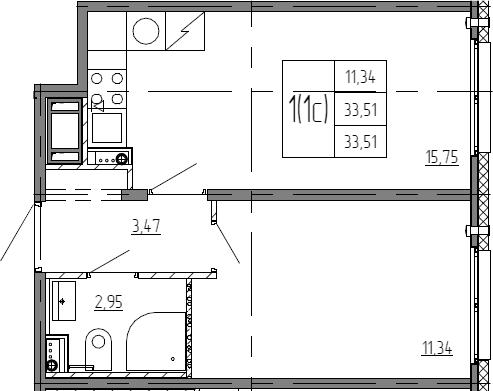 2Е-комнатная, 33.51 м²– 2