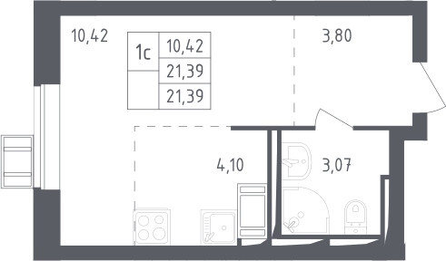 Студия, 21.39 м²