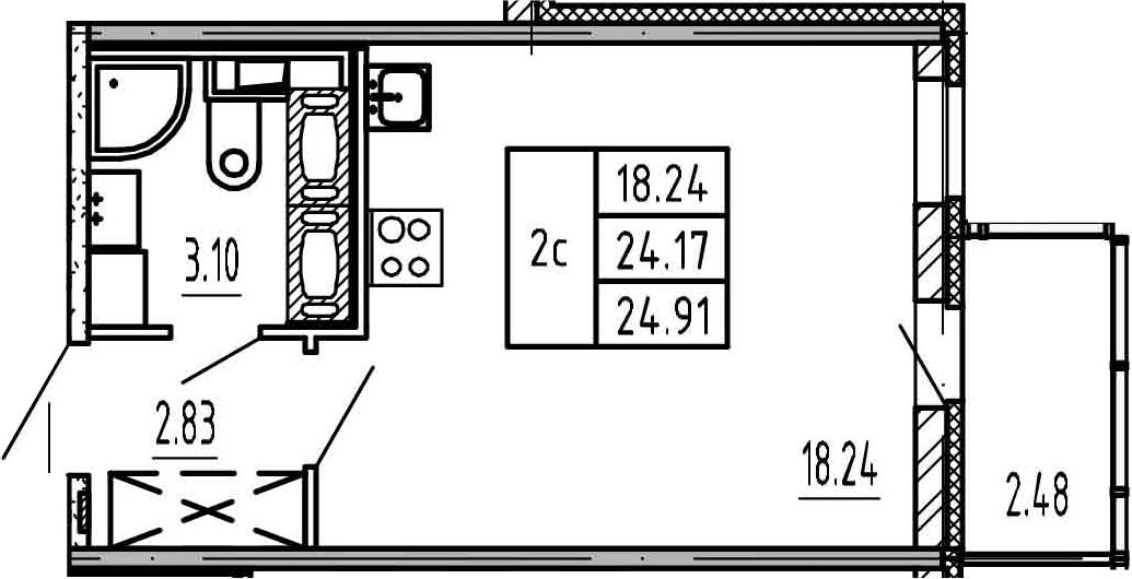 Студия, 24.17 м², 20 этаж