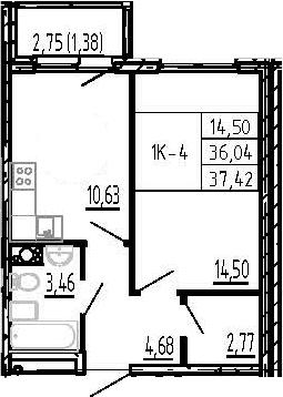 1-комнатная, 37.42 м²– 2