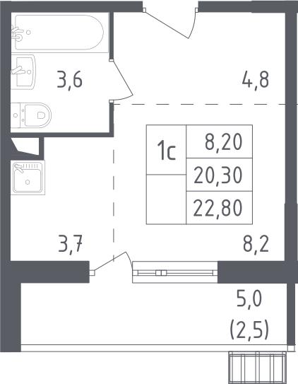 Студия, 22.8 м²– 2